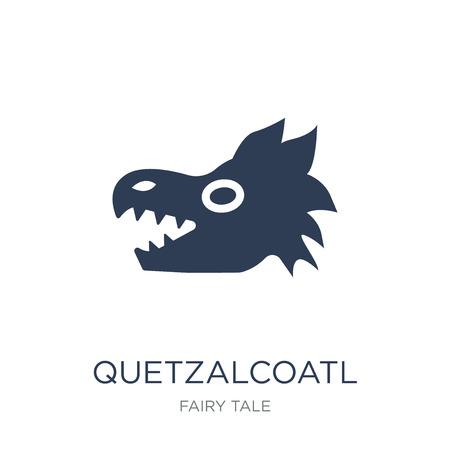 Icona di Quetzalcoatl. Icona di Quetzalcoatl piatto vettoriale su priorità bassa bianca da collezione Fairy Tale, illustrazione vettoriale può essere utilizzato per il web e mobile, eps10 Vettoriali
