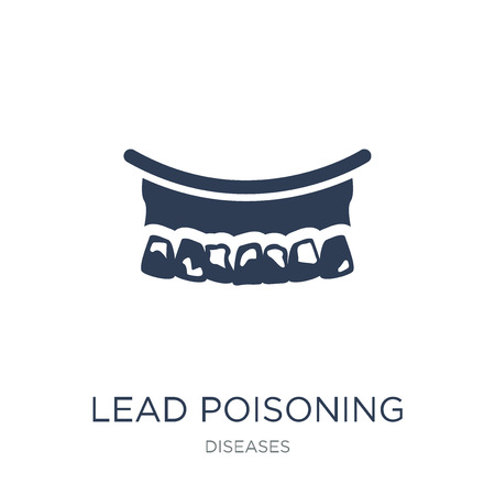 Lead poisoning icon. Trendy flat vector Lead poisoning icon on white background from Diseases collection, vector illustration can be use for web and mobile, eps10