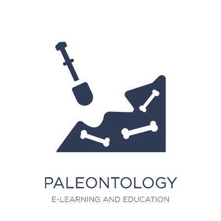Icona di paleontologia. Icona di paleontologia piatto vettoriale su priorità bassa bianca da collezione di E-learning e formazione, illustrazione vettoriale può essere utilizzato per il web e mobile, eps10 Vettoriali