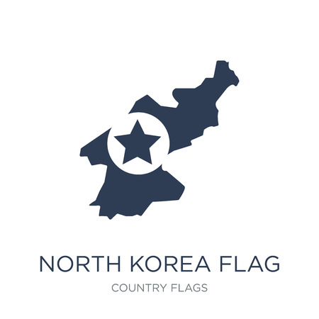 North Korea flag icon. Trendy flat vector North Korea flag icon on white background from Country Flags collection, vector illustration can be use for web and mobile, eps10