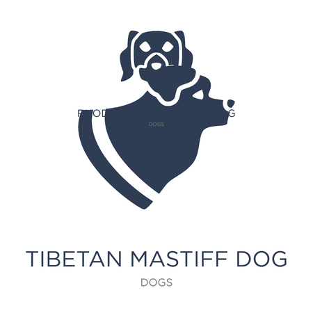 Tibetan Mastiff dog icon. Trendy flat vector Tibetan Mastiff dog icon on white background from dogs collection, vector illustration can be use for web and mobile, eps10 Ilustração
