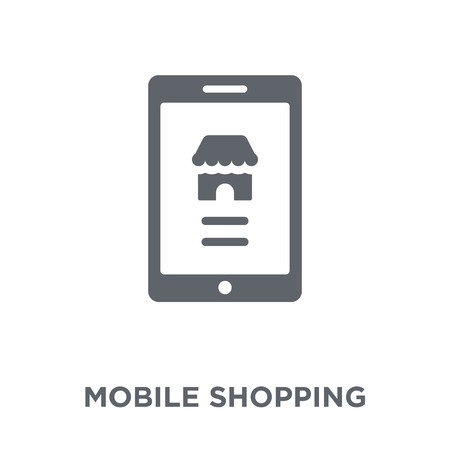 Mobile shopping icon. Mobile shopping design concept from  collection. Simple element vector illustration on white background.