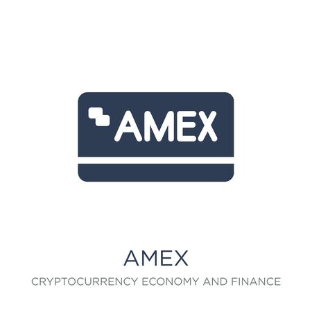 Amex-Symbol. Trendiges flaches Vektor-Amex-Symbol auf weißem Hintergrund aus der Cryptocurrency-Wirtschafts- und Finanzsammlung, Vektorillustration kann für Web und Mobile verwendet werden, eps10 Vektorgrafik