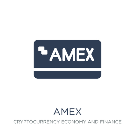 Amex icon. Trendy flat vector Amex icon on white background from Cryptocurrency economy and finance collection, vector illustration can be use for web and mobile, eps10