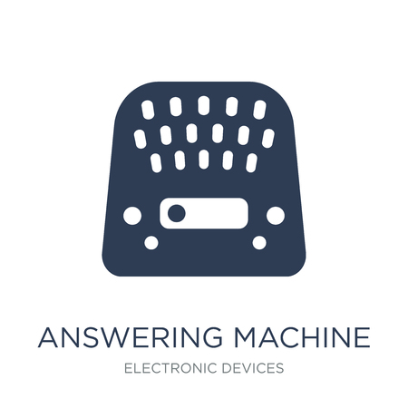 answering machine icon. Trendy flat vector answering machine icon on white background from Electronic devices collection, vector illustration can be use for web and mobile, eps10 Stock Vector - 111945849