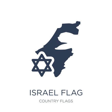 Israel flag icon. Trendy flat vector Israel flag icon on white background from Country Flags collection, vector illustration can be use for web and mobile, eps10 Illustration