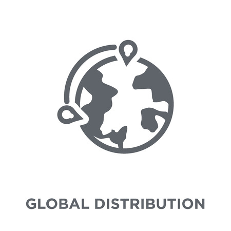 Global distribution icon. Global distribution design concept from Delivery and logistic collection. Simple element vector illustration on white background.
