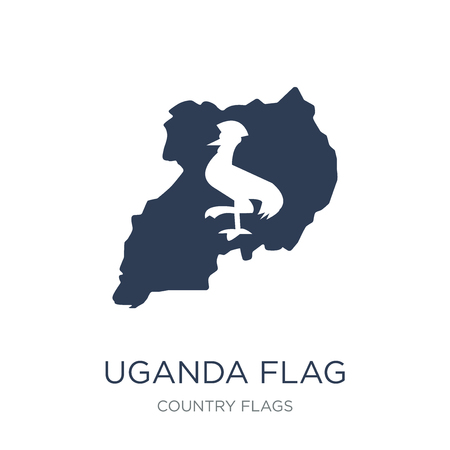 Uganda flag icon. Trendy flat vector Uganda flag icon on white background from Country Flags collection, vector illustration can be use for web and mobile, eps10 Illustration