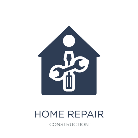 home repair icon. Trendy flat vector home repair icon on white background from Construction collection, vector illustration can be use for web and mobile, eps10 Иллюстрация