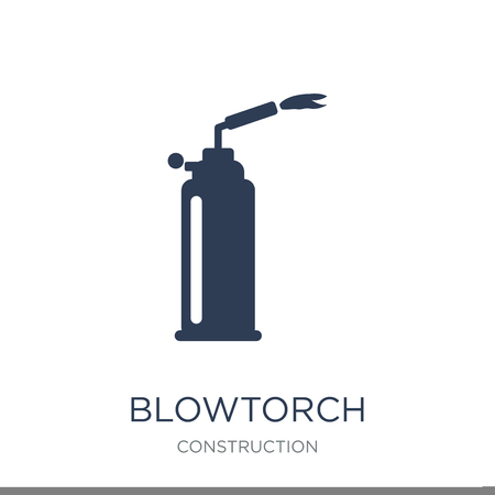 blowtorch icon. Trendy flat vector blowtorch icon on white background from Construction collection, vector illustration can be use for web and mobile, eps10 Stock fotó - 111297462