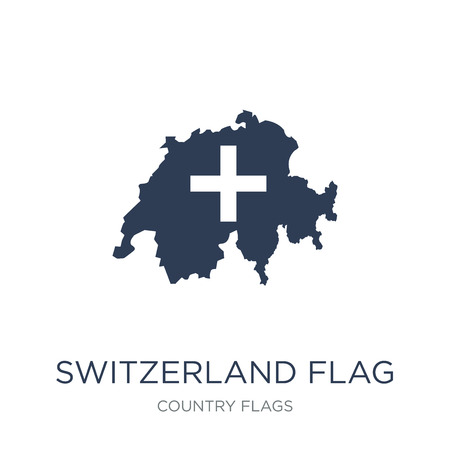 Switzerland flag icon. Trendy flat vector Switzerland flag icon on white background from Country Flags collection, vector illustration can be use for web and mobile, eps10