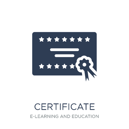 Certificate icon. Trendy flat vector Certificate icon on white background from E-learning and education collection, vector illustration can be use for web and mobile, eps10 Ilustracja