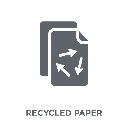 Recycled Paper icon. Recycled Paper design concept from Ecology collection. Simple element vector illustration on white background.  イラスト・ベクター素材