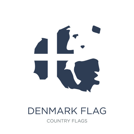 Denmark flag icon. Trendy flat vector Denmark flag icon on white background from Country Flags collection, vector illustration can be use for web and mobile, eps10
