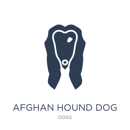Afghan Hound dog icon. Trendy flat vector Afghan Hound dog icon on white background from dogs collection, vector illustration can be use for web and mobile, eps10