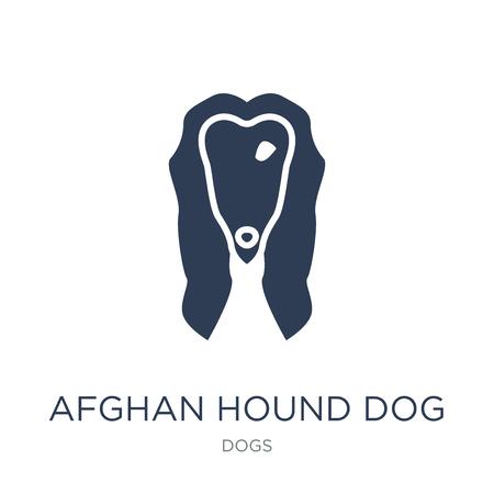 Icona del cane levriero afgano. Icona di cane levriero afgano piatto vettoriale su priorità bassa bianca da collezione di cani, illustrazione vettoriale può essere utilizzato per il web e mobile, eps10