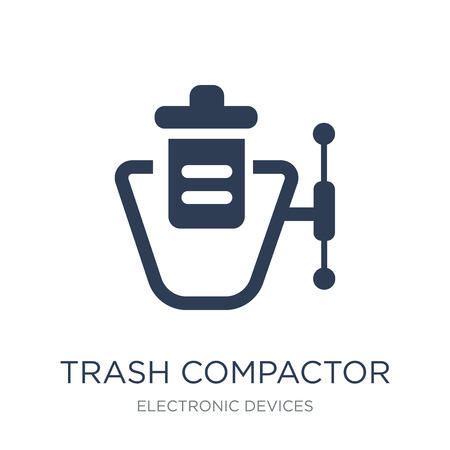 trash compactor icon. Trendy flat vector trash compactor icon on white background from Electronic devices collection, vector illustration can be use for web and mobile, eps10