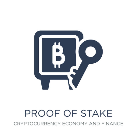 Proof of stake icon. Trendy flat vector Proof of stake icon on white background from Cryptocurrency economy and finance collection, vector illustration can be use for web and mobile, eps10 Иллюстрация