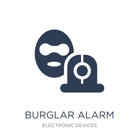 burglar alarm icon. Trendy flat vector burglar alarm icon on white background from Electronic devices collection, vector illustration can be use for web and mobile, eps10 Çizim