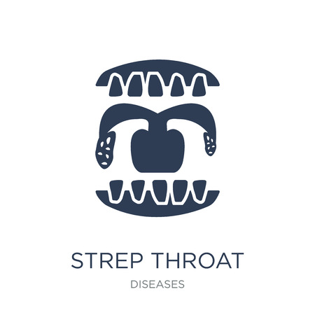 Strep throat icon. Trendy flat vector Strep throat icon on white background from Diseases collection, vector illustration can be use for web and mobile, eps10
