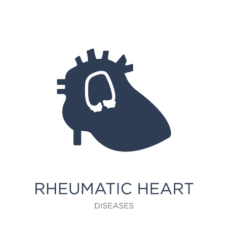 Rheumatic heart icon. Trendy flat vector Rheumatic heart icon on white background from Diseases collection, vector illustration can be use for web and mobile, eps10