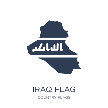 Iraq flag icon. Trendy flat vector Iraq flag icon on white background from Country Flags collection, vector illustration can be use for web and mobile, eps10 Illustration