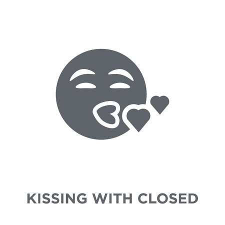 Kissing With Closed Eyes emoji icon. Kissing With Closed Eyes emoji design concept from Emoji collection. Simple element vector illustration on white background. Illustration