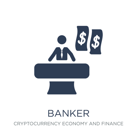 Banker icon. Trendy flat vector Banker icon on white background from Cryptocurrency economy and finance collection, vector illustration can be use for web and mobile, eps10 Ilustração