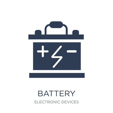 Battery icon. Trendy flat vector Battery icon on white background from Electronic devices collection, vector illustration can be use for web and mobile, eps10 Vector Illustration