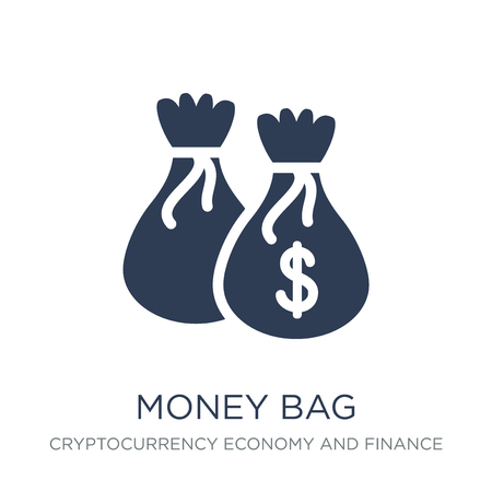 Money bag icon. Trendy flat vector Money bag icon on white background from Cryptocurrency economy and finance collection, vector illustration can be use for web and mobile, eps10 Stock Illustratie