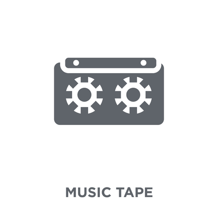 Music tape icon. Music tape design concept from Entertainment collection. Simple element vector illustration on white background.  イラスト・ベクター素材