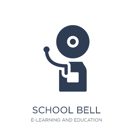 School bell icon. Trendy flat vector School bell icon on white background from E-learning and education collection, vector illustration can be use for web and mobile, eps10