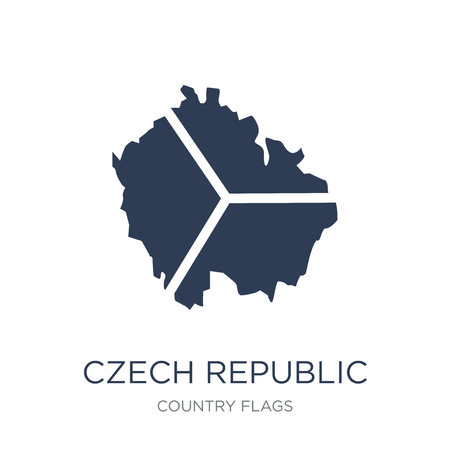 Czech Republic flag icon. Trendy flat vector Czech Eepublic flag icon on white background from Country Flags collection, vector illustration can be use for web and mobile, eps10