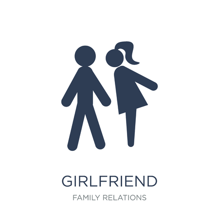 girlfriend icon. Trendy flat vector girlfriend icon on white background from family relations collection, vector illustration can be use for web and mobile, eps10 Illustration