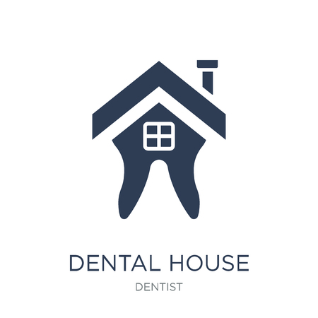 Dental House icon. Trendy flat vector Dental House icon on white background from Dentist collection, vector illustration can be use for web and mobile, eps10 일러스트