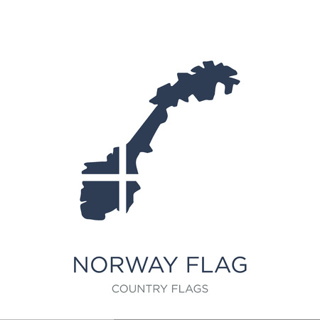 Norway flag icon. Trendy flat vector Norway flag icon on white background from Country Flags collection, vector illustration can be use for web and mobile, eps10