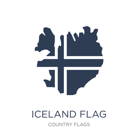 Iceland flag icon. Trendy flat vector Iceland flag icon on white background from Country Flags collection, vector illustration can be use for web and mobile, eps10