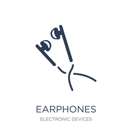 Earphones icon. Trendy flat vector Earphones icon on white background from Electronic devices collection, vector illustration can be use for web and mobile, eps10  イラスト・ベクター素材