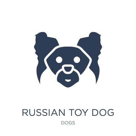 러시아 장난감 개 아이콘입니다. 개 컬렉션, 벡터 일러스트 레이 션에서 흰색 배경에 유행 평면 벡터 러시아 장난감 개 아이콘은 웹 및 모바일, eps10에 사용할 수 있습니다.