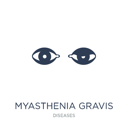 Myasthenia gravis icon. Trendy flat vector Myasthenia gravis icon on white background from Diseases collection, vector illustration can be use for web and mobile, eps10
