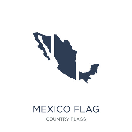 Mexico flag icon. Trendy flat vector Mexico flag icon on white background from Country Flags collection, vector illustration can be use for web and mobile, eps10