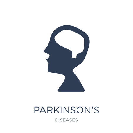 Parkinsons disease icon. Trendy flat vector Parkinsons disease icon on white background from Diseases collection, vector illustration can be use for web and mobile, eps10 Illusztráció
