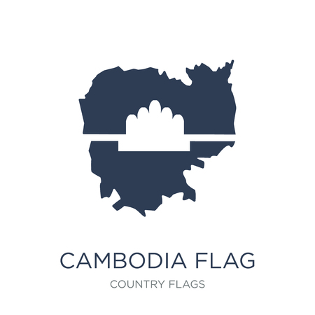 Cambodia flag icon. Trendy flat vector Cambodia flag icon on white background from Country Flags collection, vector illustration can be use for web and mobile, eps10