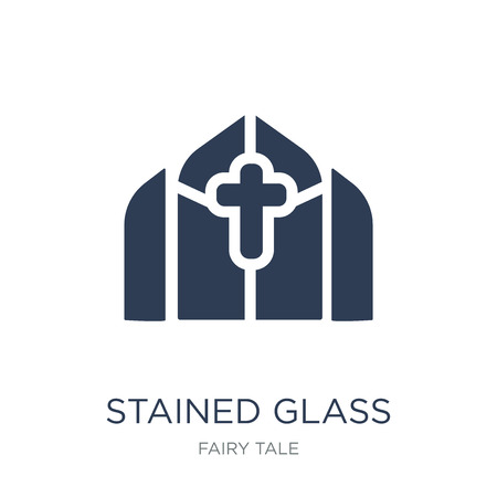 Stained glass icon. Trendy flat vector Stained glass icon on white background from Fairy Tale collection, vector illustration can be use for web and mobile, eps10 Stock Illustratie