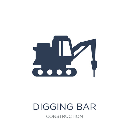 Digging bar icon. Trendy flat vector Digging bar icon on white background from Construction collection, vector illustration can be use for web and mobile, eps10