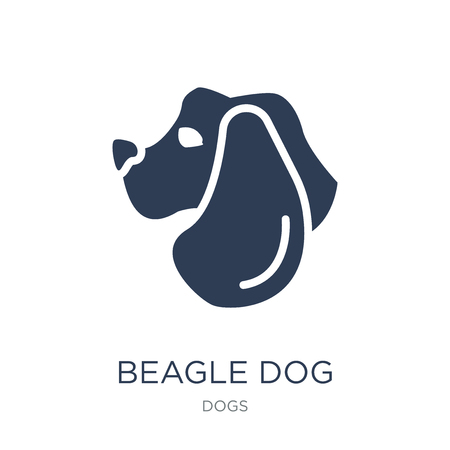 Beagle dog icon. Trendy flat vector Beagle dog icon on white background from dogs collection, vector illustration can be use for web and mobile, eps10 Ilustração