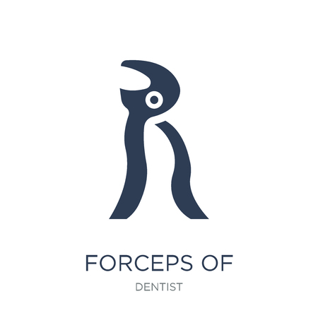 Forceps of dentist tools icon. Trendy flat vector Forceps of dentist tools icon on white background from Dentist collection, vector illustration can be use for web and mobile, eps10