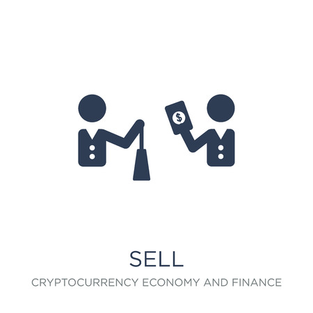 Sell icon. Trendy flat vector Sell icon on white background from Cryptocurrency economy and finance collection, vector illustration can be use for web and mobile, eps10 Stock Illustratie
