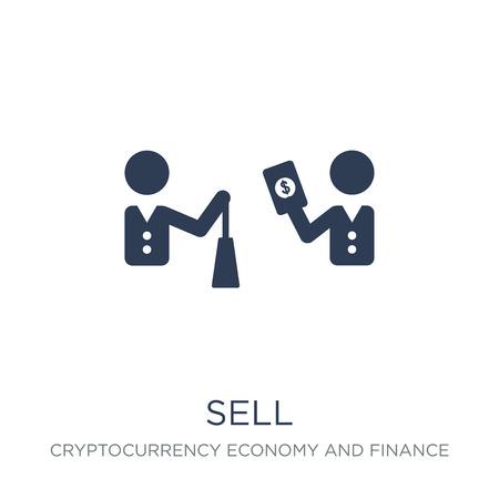 Symbol verkaufen. Trendiges flaches Vektorverkaufssymbol auf weißem Hintergrund aus der Kryptowährungs-Wirtschafts- und Finanzsammlung, Vektorillustration kann für Web und Mobile verwendet werden, eps10