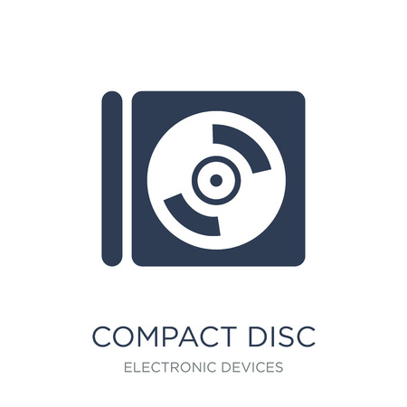 Compact disc icon. Trendy flat vector Compact disc icon on white background from Electronic devices collection, vector illustration can be use for web and mobile, eps10